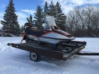 1984 YAMAHA XL-V 540 SNOWMOBILE AND DOUBLE WIDE TRAILER FOR SALE