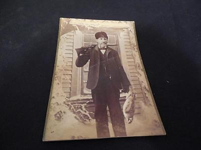 Vintage 1800s Man with Double Barrel Shotgun Gun Bird Pheasant Cabinet Photo