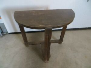 REDUCED - Antique Half Moon Wood Table