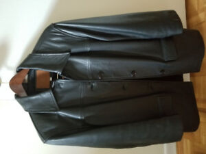 Men's small black leather jacket. Practically brand new.