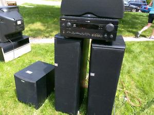 Système de son yamaha avec hauts parleurs JBL