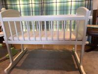 Excellent white rocking crib