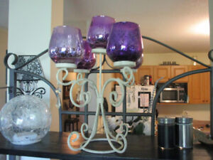 Candle holder, Purple glass with antique white base