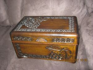 "Large Carved Wooden Box. 11.75""x5.75""x7.5"""
