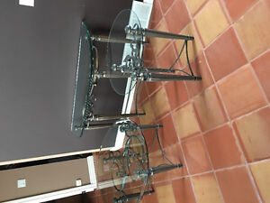 3 piece heavy iron & glass tables