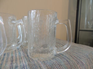 RETRO ICY LOOKING SOLID GLASS DRINKING MUGS