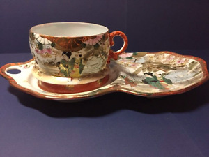 Antique hand painted Japanese snack plate and cup, signed