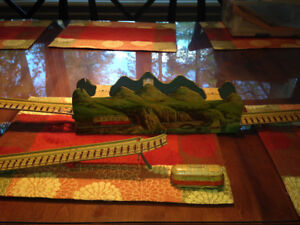 VINTAGE 1950s TECHNOFIX TIN  WIND UP TRAIN + TRACK GERMANY BRP
