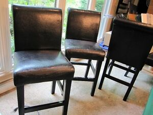 Set of Three (3) - Leather Kitchen / Bar Counter Stools