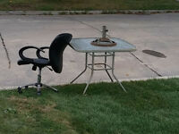 outdoor steel table with glass top *FREE