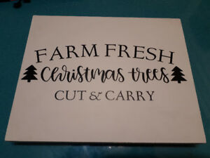 Christmas tree wooden sign