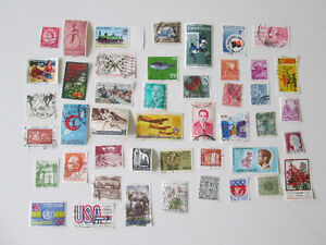 45 Used postage Stamps 39 Various Countries Timbres de 39 pays