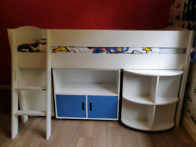 Stompa mid riser frame, pull out desk, cube display & chest of drawers