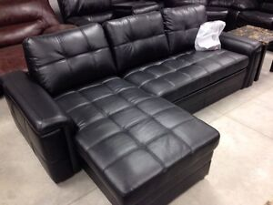 Brand new black leather sofa bed sectional with storage.