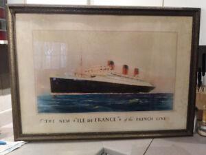 Cadre antique, photo du bateau Ile de France, environ 1930