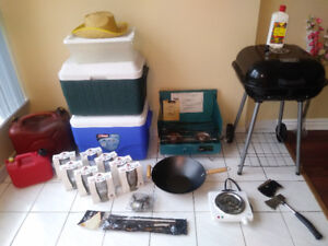 FISHING & CAMPING EQUIPMENT (NEW) BBQ STOVE COOLERS AXE & MUCH M