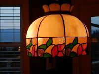 Slumped stain glass hanging lamp