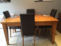 Pine Dining Table and 4 brown leather chairs
