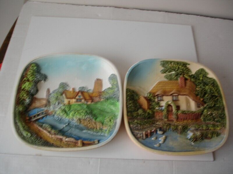 Two Vintage Legends England 3D Chalkware Beside the River Plaques Wall Art