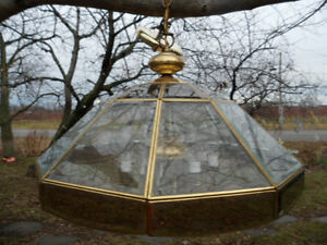 Clear Bevel Glass Brass Large Hanging Lamp Light