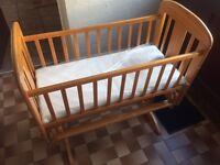 Mamas and papas pine wood swinging crib New mattress