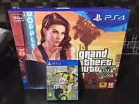 (NEW)PS4 PLUS GTA V, FIFA 17, CALL OF DUTY MODERN WARFARE REMASTERED AND EXTRA CONTROLLER .