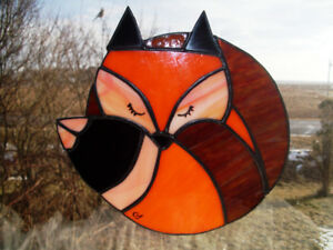 stained glass asleep little fox