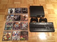 PS3 bundle(12 games, 2 controllers, keyboard) for sale/ à vendre