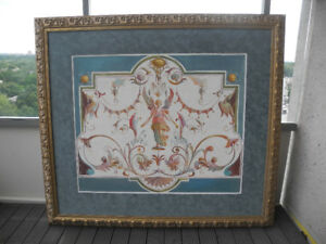 Framed grotesca painting
