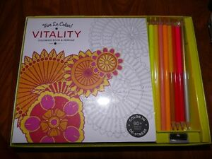 Vive Le Color Vitality Coloring book and pencils. Brand New.