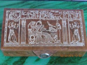 Vintage Swiss-made Egyptian art leather misic box, like new