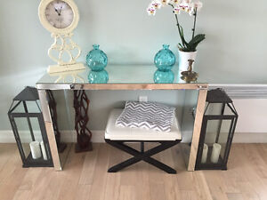 High end mirrored glass console table