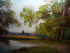 """Original Oil Painting """"Early Summer Path"""" Vintage Early 1900's Stratford Kitchener Area image 9"""