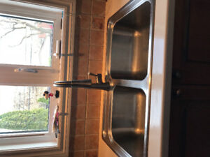 Stainless Steel double Sink & Faucet (with Hose)
