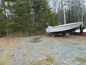 14 ft fiber glass  boat and trailer 45 hp chy 'motor