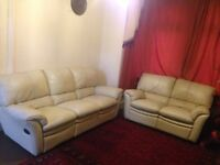 3 seater and 2 seater cream colour original Leather sofa set with footstool