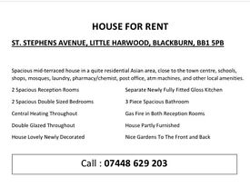 House For Rent - In Little Harwood Area...