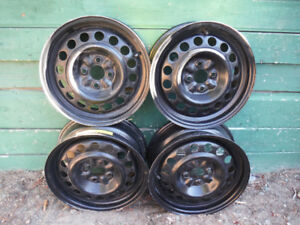 Set of 15 inch 4 bolt Steel wheels, size 15X6 4-100 in excellent
