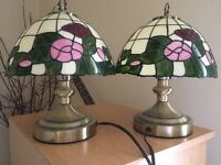 Two small tiffany style lamps