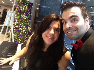 Pianist and singer jazz duet Christmas party