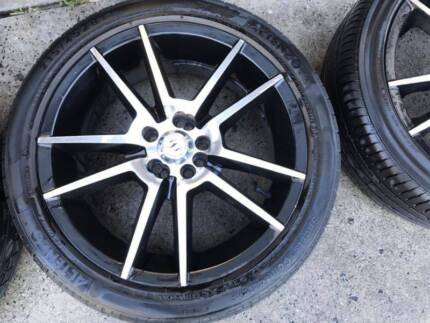 4 rims and tyres 215/45 17 rodney jane racing wheels