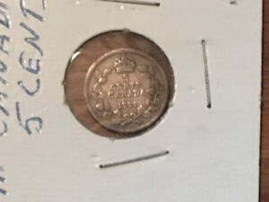 1911 silver Canadian five cents