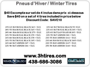 PNEUS D'HIVERS NEUF / NEW WINTER TIRES