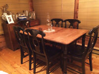 Restored and Refinished Dining Set/Black/Distressed