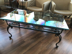 Glass Coffee Table with Wrought Iron legs