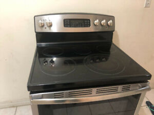 """2 yrs old GE stainless steel 30"""" electric glass stove fan oven"""