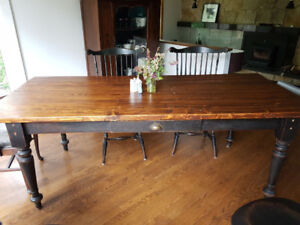 Farmhouse dining room table and chairs.