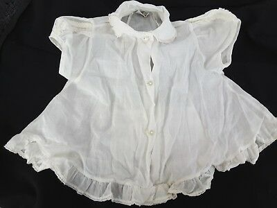 VINTAGE BABY 1950's thin cotton FAWN Fashion girls shirt sz l 21 to 26 lbs white