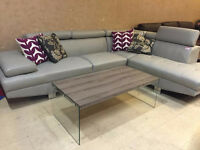 Liquidation light gray sectional with adjustable rest head