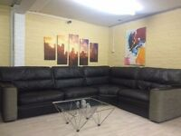 Reversible Leather/Fabric Corner Sofa